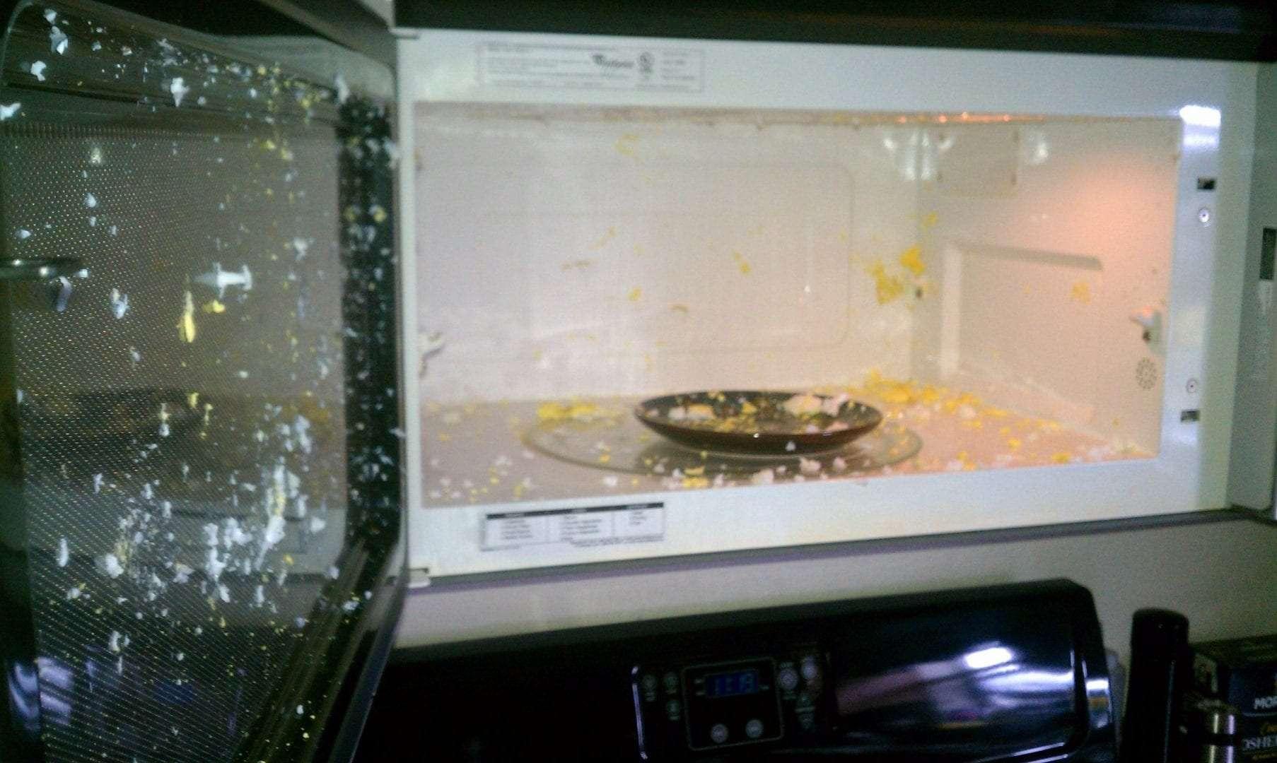 Food exploded in microwave.